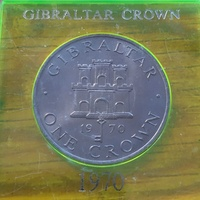 Gibraltar coin of 1970 in case
