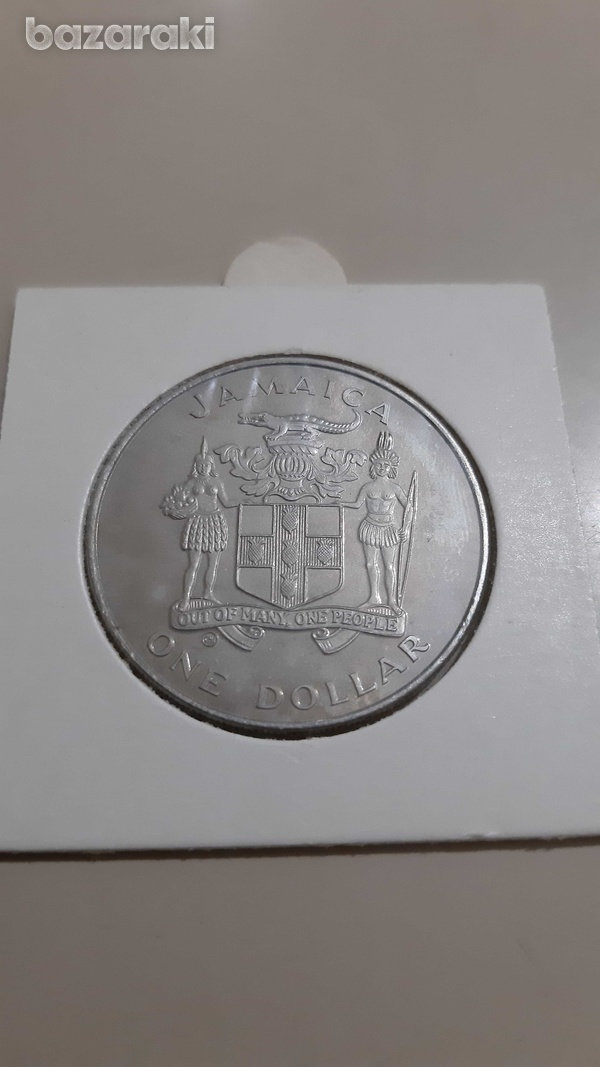 Jamaica one dollar coin 1982 world championship of football-2