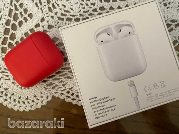Airpods with charging case and red cover case-4