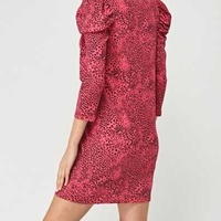 Leopard pink sleeve dress