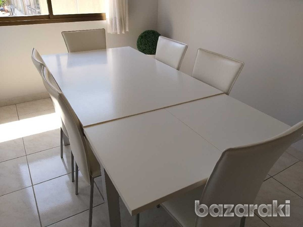 Dinning table extentable with 6 chairs-3