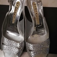 Silver swarovski high heels and matching bag