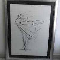 Drawing with charcoal and frame