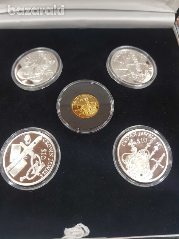 The crown silver gold coin set with diamonds-2