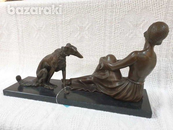 A fine art deco bronze sculpture of seated lady with dog-4