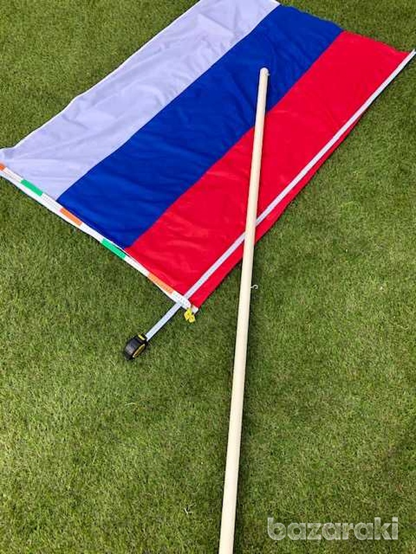 Huge russian/serbian flag 150x100 cm with a pole-3