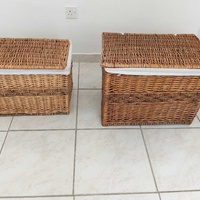 2 bamboo baskets for storage