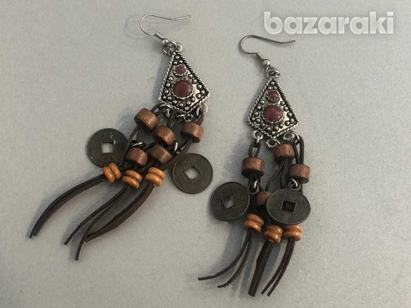 Boho silver tone brown stone and bead tassel dangle earrings