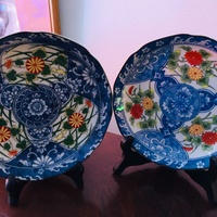 Antique japanese arita plate x2 with mark