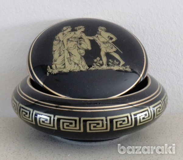Various vintage collectibles - black with 24k gold - made in greece-5