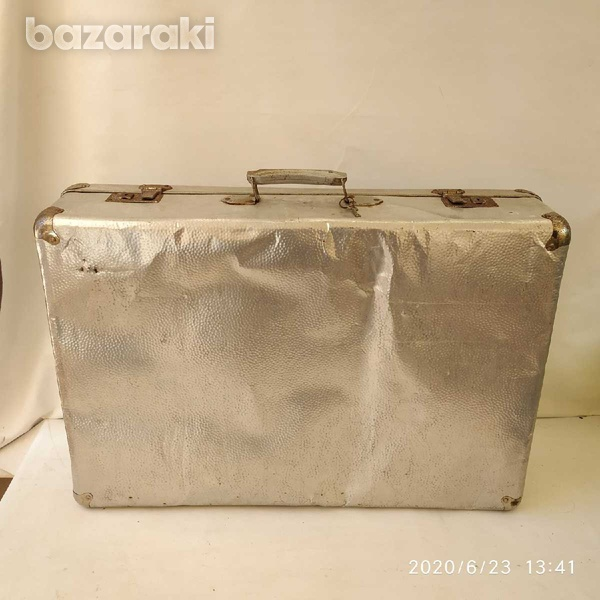 Suit case antique metal with lock and key-5
