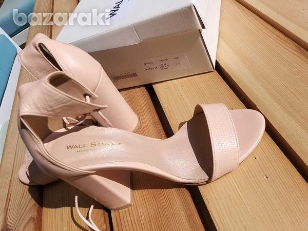 Lace up-ankle real leather sandals - in dusty pink /nude color-1