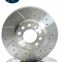 Drilled and grooved discs and pads