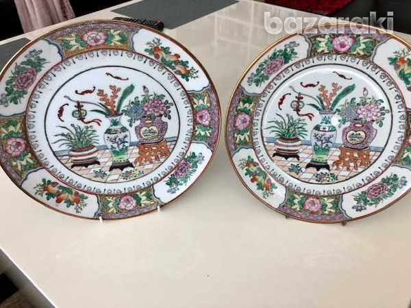 Set of two atique hand painted japanesse plates-1