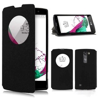 Circle clear window flip case cover for lg g4cg4 minimagna black