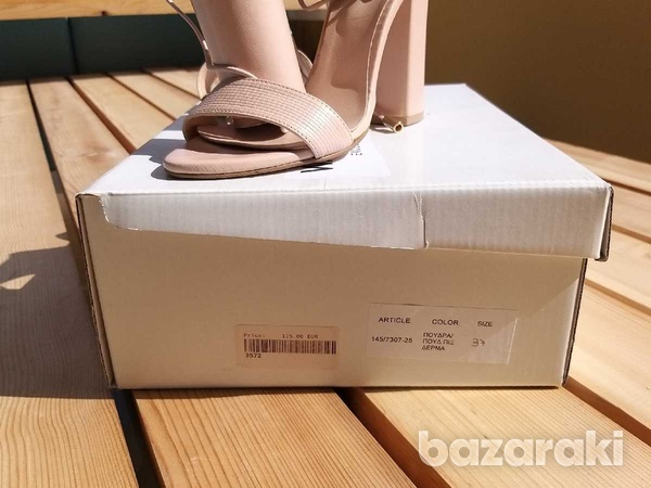 Lace up-ankle real leather sandals - in dusty pink /nude color-2