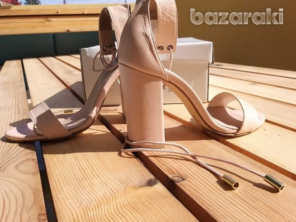 Lace up-ankle real leather sandals - in dusty pink /nude color-3