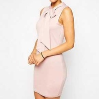 Asos pale pink mini bodycon dress with bow uk 12