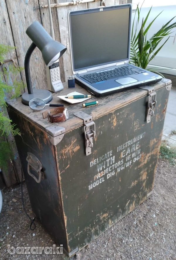 Vintage army large projector box on casters.-4