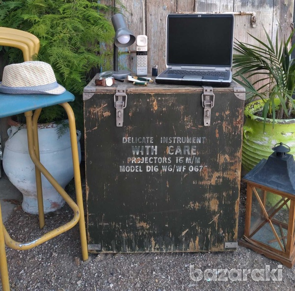 Vintage army large projector box on casters.-1