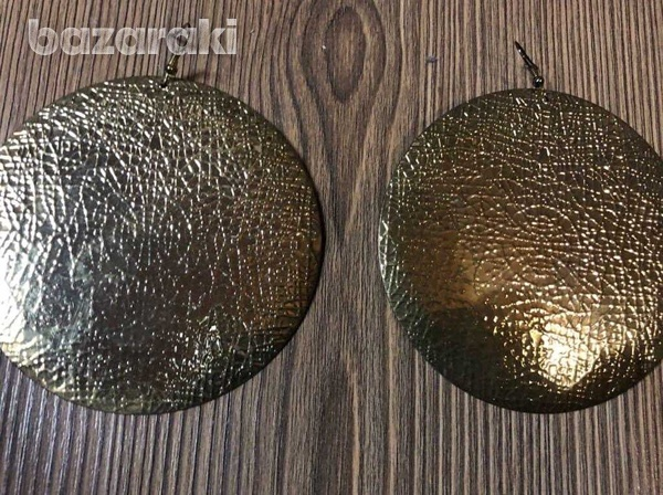 Handmade silver and goldhammered metal over-sized disc dangle earrings-2