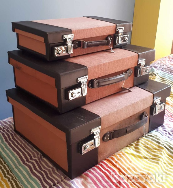 Vintage style wooden suitcase set of 3 / βαλίτσες.-2