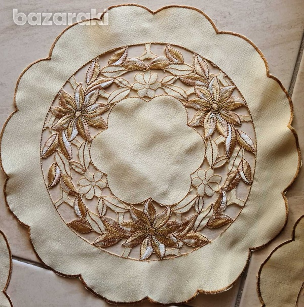 Four round table cloths - one large + three small-2