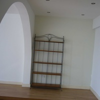Wooden and iron shelves
