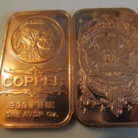 1 oz american indian .999 fine copper bullion art bar