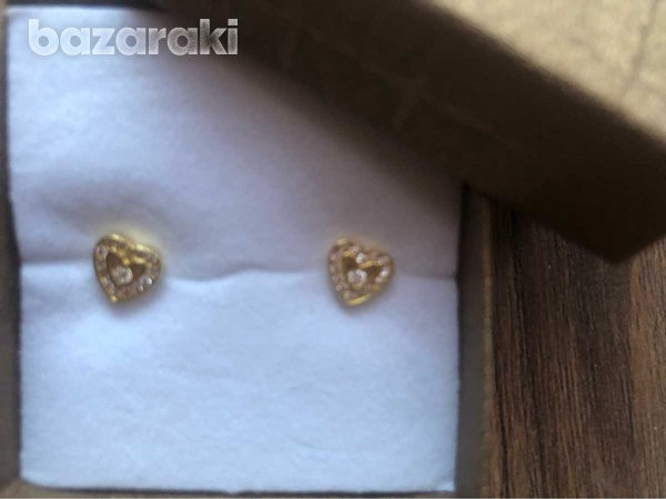 Sterling silver gold plated heart crystal earrings-2