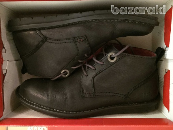 Kickers black leather shoes-3