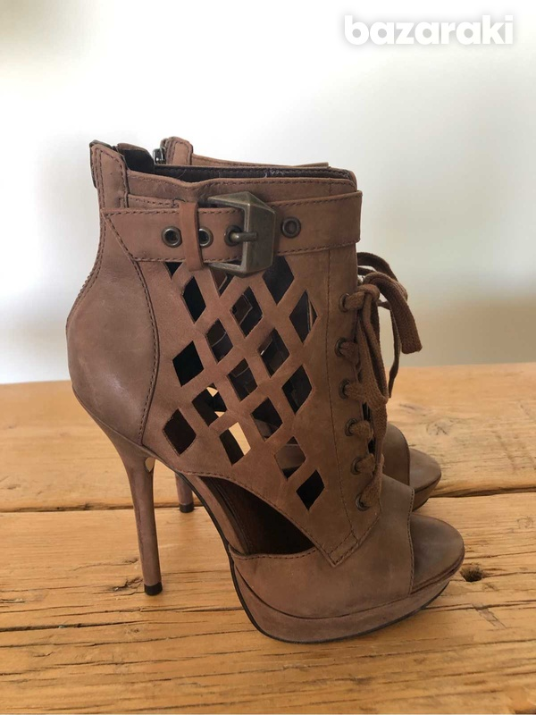 High heels brown ankle booties-6
