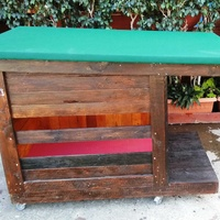 Our new pallet dog house for small to large dog.