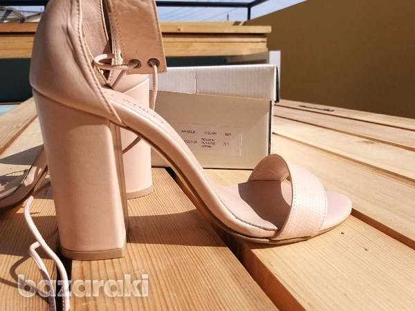 Lace up-ankle real leather sandals - in dusty pink /nude color-8
