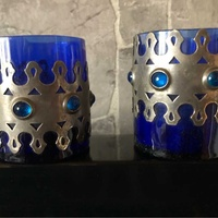 Set of vintage glass candle holders