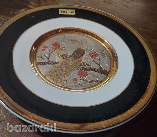 Chokin japanese decorative plate-1