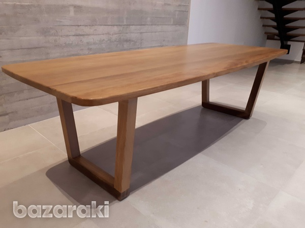 Solid iroko wood dining table-2