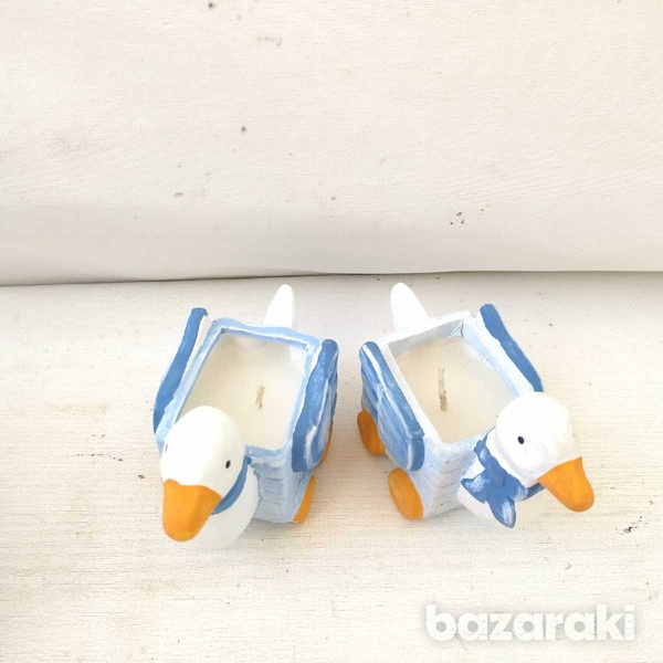 2 porcelain duck candle holders33-1