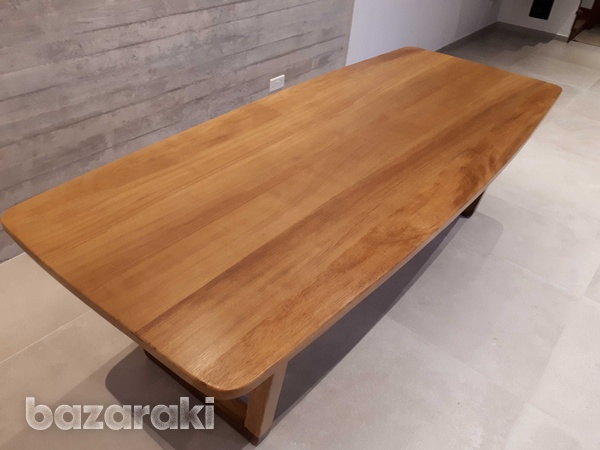 Solid iroko wood dining table-3