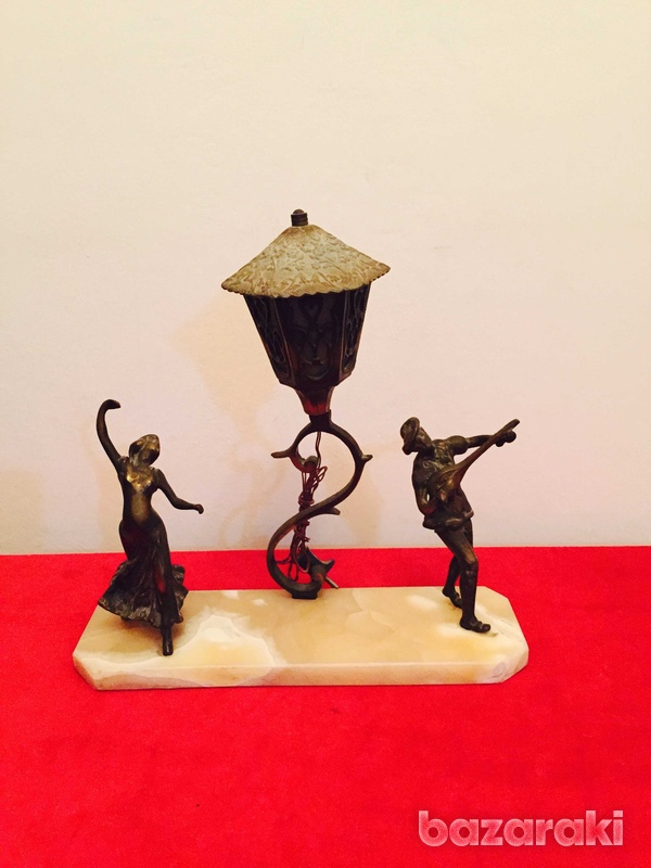 Solid brass figurines on onyx base-3