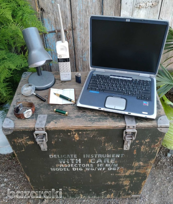 Vintage army large projector box on casters.-5