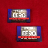2 x tdk fe90 audio recordable cassette tapes new.