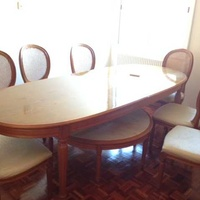 Hand made dining table with chairs, sideboard and coffee table