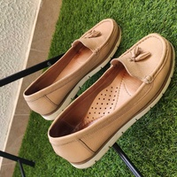 Real leather beige loafers / topsiders