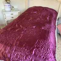 Beautiful satin purple double bed cover