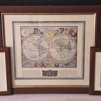 3x pcs lot 70x60cm, 42x34cm vintage antique maps in wooden frame