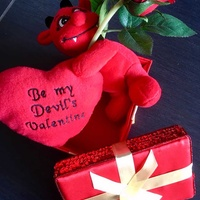 Devil valentine gift toy with a rose and a box