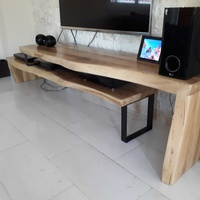 Natural oak wood tv stand