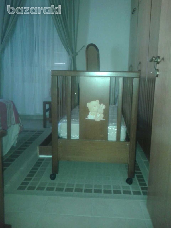 Wooden cot with drop side and drawer-2