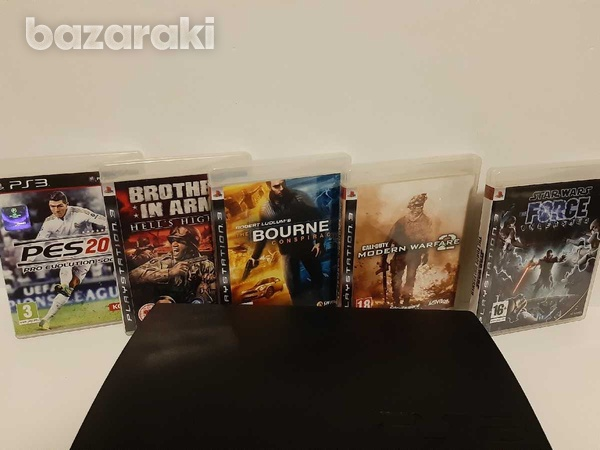 Playstation 3 ps3 slim with 1 controller and 5 games-4